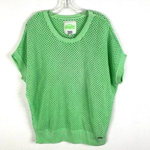 Superdry open knit pullover mesh sweater neon